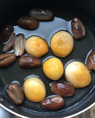 Dried dates and apricots are soaked in water for easy homemade date and apricot jam