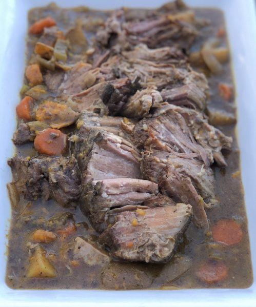 Fall Apart Slow Cooker Pot Roast with Balsamic Dijon Gravy an easy family dinner recipe made with boneless chuck roast, potatoes and carrots