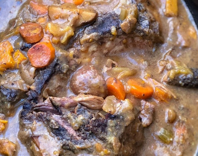 Fall Apart Slow Cooker Pot Roast with Balsamic Dijon Gravy