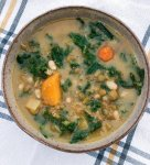 Healthy Winter Vegetable Lentil Soup is homemade comfort food for those chilly winter nights-made with white beans and kale, it's a hearty vegetarian soup recipe packed with nutrition.