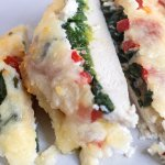 Sliced chicken breast that's topped with ricotta, spinach, roasted red peppers and melted mozzarella cheese. It's perfectly moist for an easy and healthy chicken dinner recipe