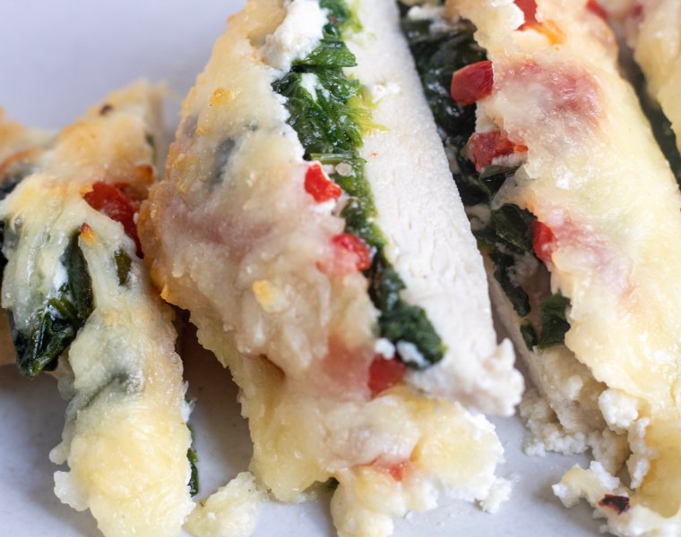 Oven Baked Chicken Breasts with Spinach & Cheese