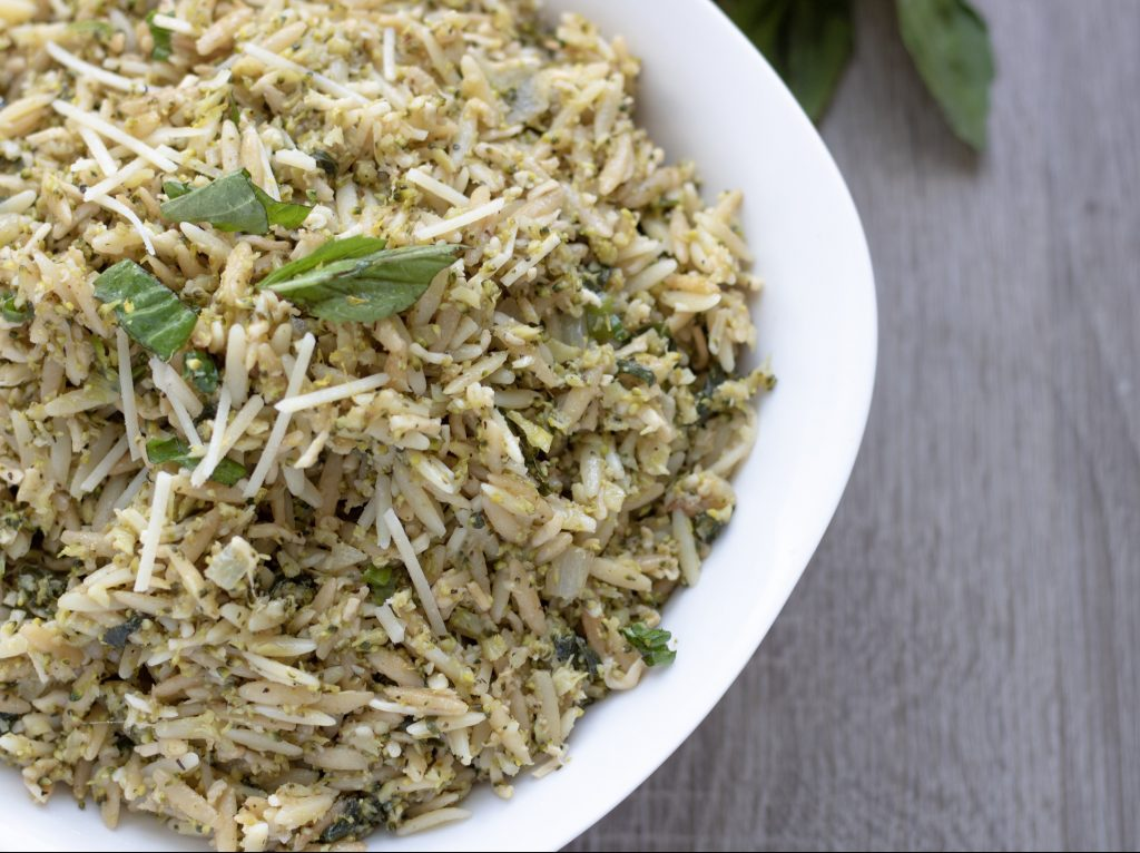 An easy and healthy orzo side dish made with lemon, broccoli and Parmesan cheese