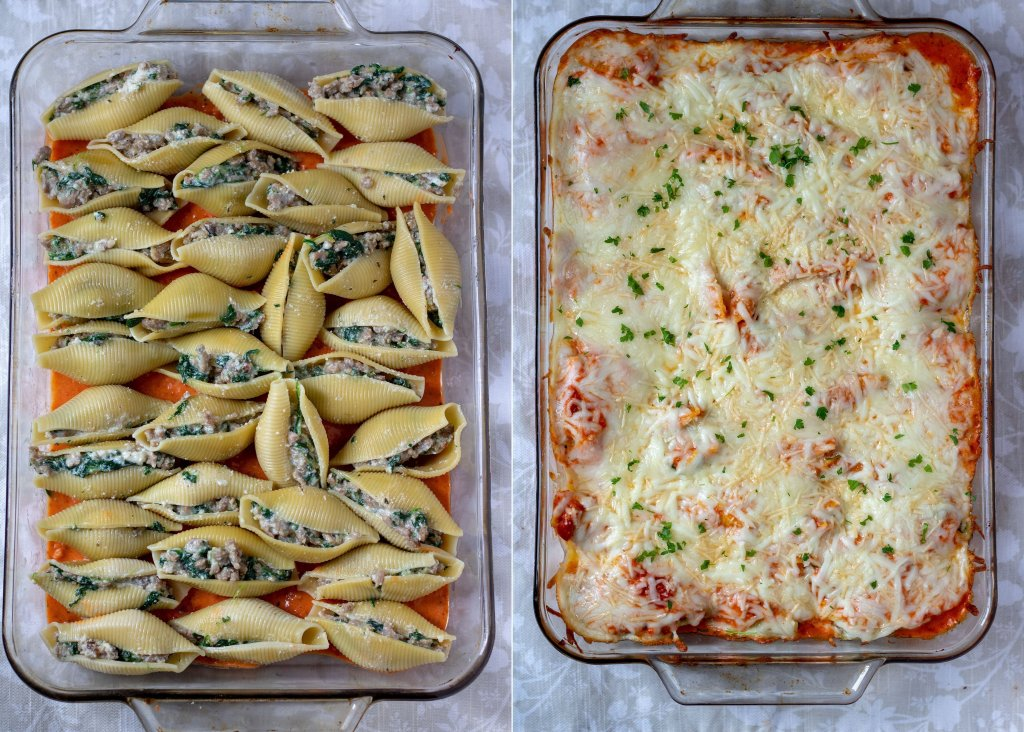 a baking dish on the left with unbaked stuffed shells with sausage and spinach. A baking dish on the right with the finished baked shells covered in sauce and cheese.