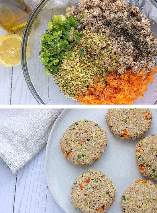 The top picture is a glass bowl with bell pepper, canned salmon, green onions, panko and lemon. The bottom picture is the easy salmon patties made with a pistachio pesto