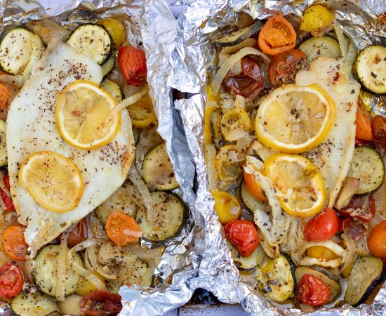 Foil Baked Fish with Veggies