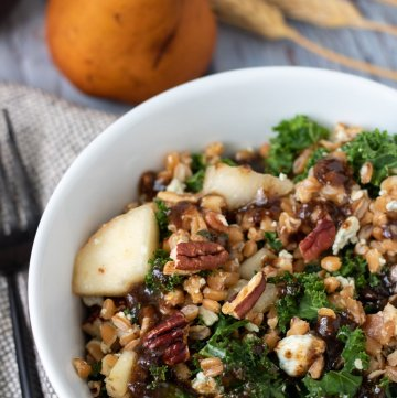 a white salad bowl with farro, kale, pecans, bacon, Gorgonzola crumbles and chunks of pears. There's a black fork next to the bowl. A whole pear is in the background with dried wheat stalks