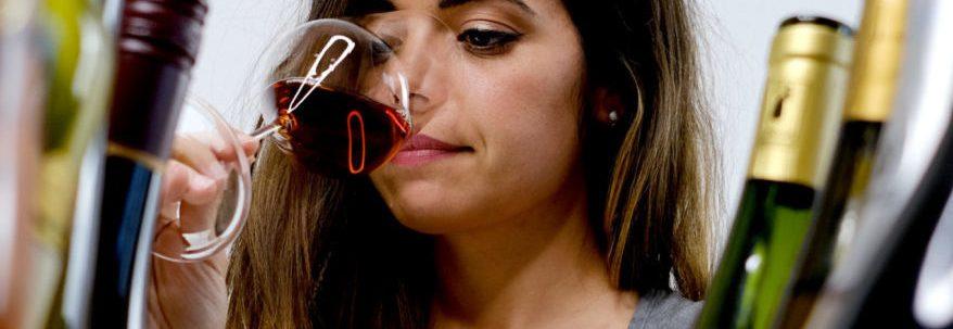 Alexia tasting lots of wines