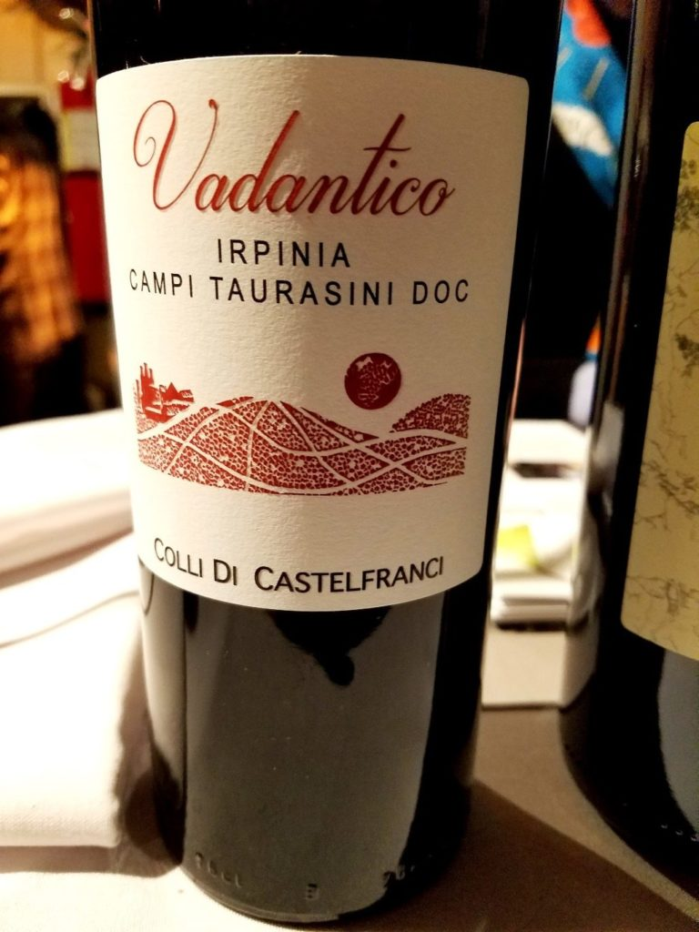 Colli Di Castelfranci Irpinia Campi Taurasini Vadantico 2014, James Suckling Great Wines of Italy New York 2020, Wine Casual