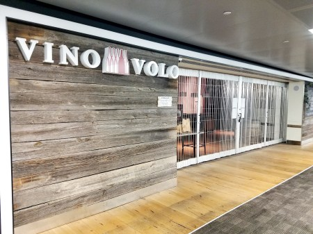 Closed Vino Volo winetasting shop at Newark International Airport during the pandemic
