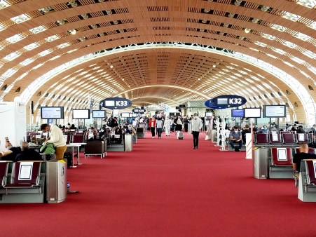 Concourse K at the Paris at the Charles de Gaulle airport.