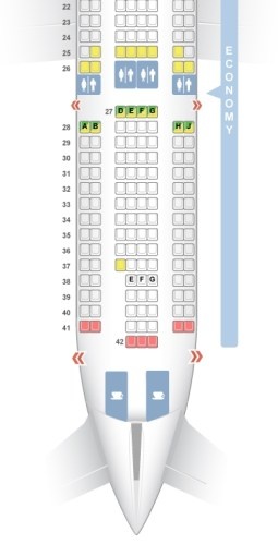 Seating chart of my flight from Newark International International Airport.