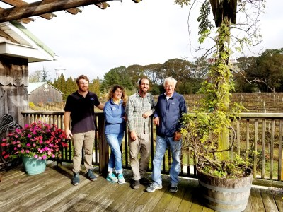 Cape May Winery & Vineyard Team (L-R) including Jackson Sole, Assistant Winemaker; Betsy Sole, General Manager; Mike Mitchell, Winemaker; and Toby Craig, Owner.