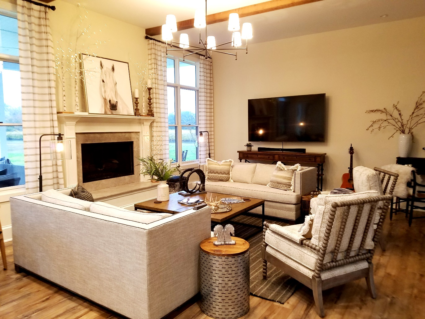 White Horse Winery Farmhouse living room. Wine Casual