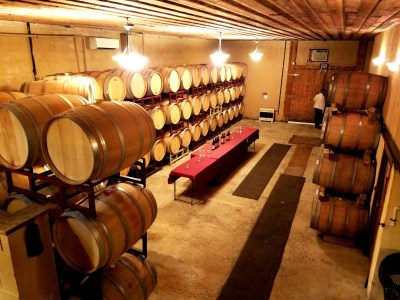 The barrel room at Amalthea Cellars.  Wine Casual