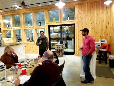 Alba Vineyard brothers (L-R standing), Nick Sharko and Tom  Sharko, wish they had a third sibling who could help share in the work of running the winery.   Wine Casual