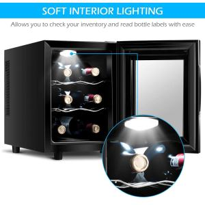 Costway Thermoelectric Wine Cooler Freestanding Cellar Chiller Refrigerator Quiet Compact w-Touch Control (6 Bottle) LED