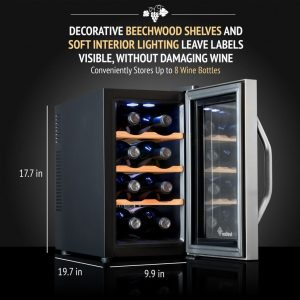 Ivation Premium Stainless Steel 8 Bottle Thermoelectric Wine Cooler-Chiller Counter Top Red & White Wine Cellar open