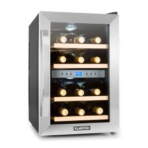 KLARSTEIN Reserva 12 Duo Stainless Steel Dual Zone Wine Cooler front