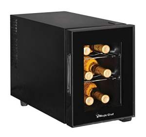 Magic Chef MCWC6B 6-Bottle Single-Zone Black Wine Cooler, 13in x 23in x 18in