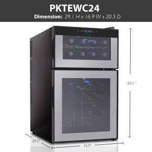 NutriChef PKTEWC24 24 Bottle Dual Zone Thermoelectric Wine Cooler - Red and White Wine Chiller - Countertop Wine Cellar - Freestanding Refrigerator with LCD Display Digital Touch Controls dims