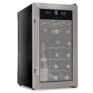 NutriChef PKDSWC18 18 Bottle Dual Zone Stainless Steel Thermoelectric Cooler front