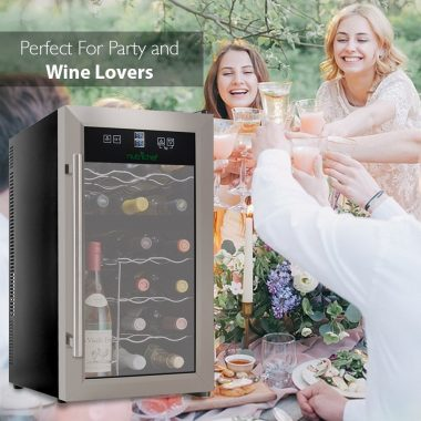 NutriChef PKDSWC18 18 Bottle Dual Zone Stainless Steel Thermoelectric Wine Cooler