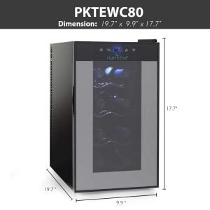 Nutrichef PKTEWC80 8 Bottle Wine Cooler Refrigerator Red, White, Champagne Chiller Counter Top Wine Cellar Quiet Operation Fridge Touch Temperature Control vertical dims