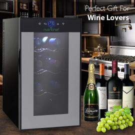 Nutrichef PKTEWC80 Thermoelectric 8 Bottle Wine Cooler Refrigerator | Red, White, Champagne Chiller vertical