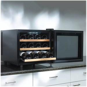 Wine Enthusiast 272 03 12W Silent 12 Bottle Touchscreen Wine Cooler with Wood Shelves open door