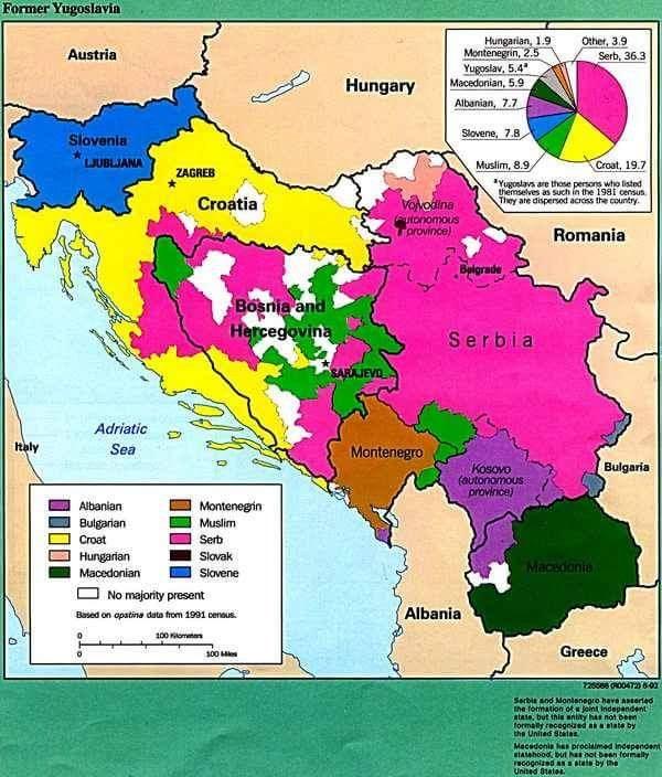 Map of Former Yugoslavia
