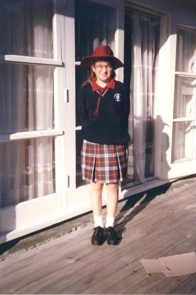 Image of Billi Milovanovic in Wellington New Zealand, wearing a Hutt Intermediate School Uniform