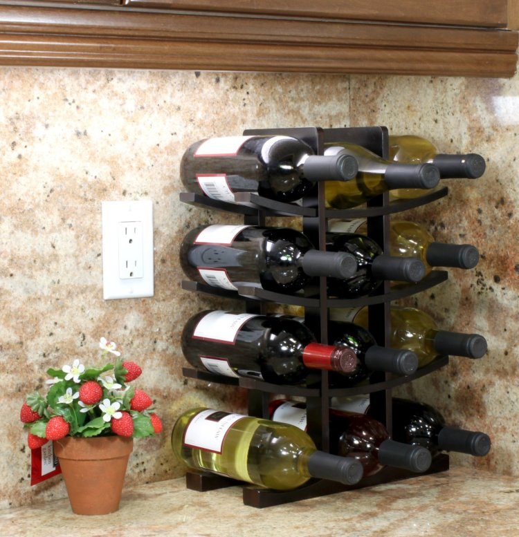Oceanstar 12-Bottle Bamboo Wine Rack