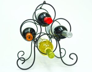 Roma Metal 4 Bottle Countertop Wine Holder