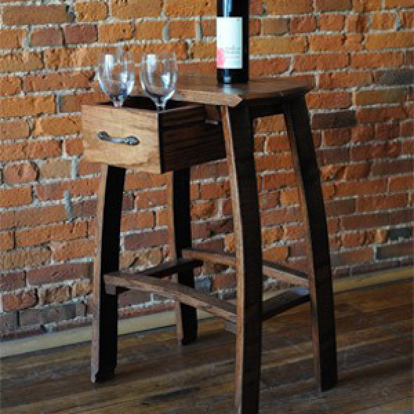 Barrel Head Wine Barrel Oak Bar Stools Table With Drawer