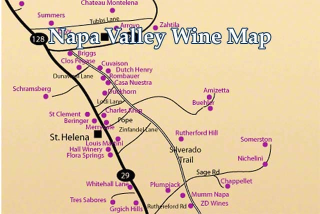 Map Of Napa Valley Wineries napa valley winery map best   Wine Country Getaways