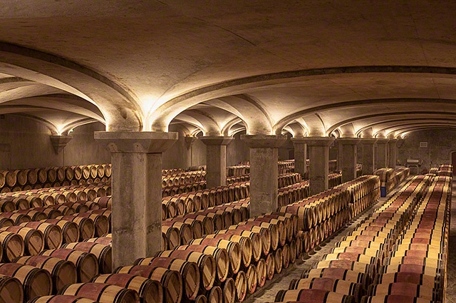 Barrel room at Chateau Margaux