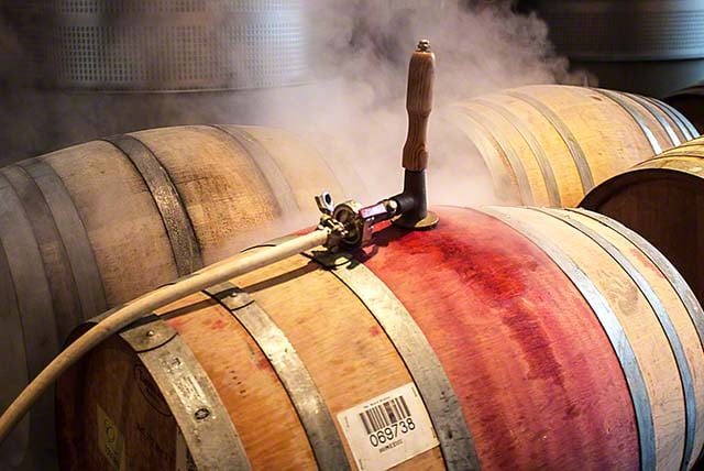 steam cleaning wine barrels