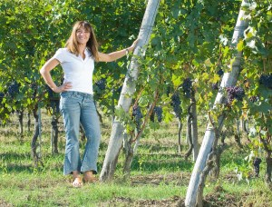One of Barolo's first women winemaker's, Chiara Boschis, at home amongst her treasured nebbiolo vines