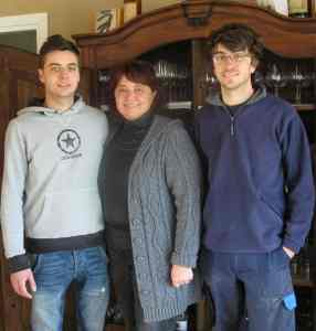 Livia Fontana with sons, Lorenzo and Michele.
