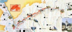 Map of the different alpages of Valais Chateau de Villa sources its raclette du Valais AOC.