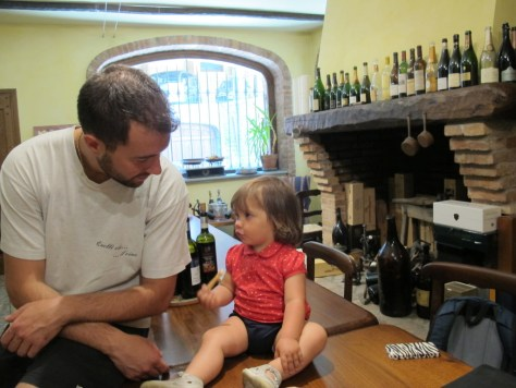 Carlo Deltetto in deep discussion with daughter Lidia.