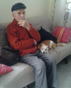 Nonno Grasso and the ever-loyal Ca' del Baio winery dog, Milo.