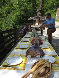 Table set and ready for a traditional mountain lunch.