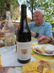 My hubby Dani Hoffman and a bottle of Chiara Boschis' Barbera d'Alba.