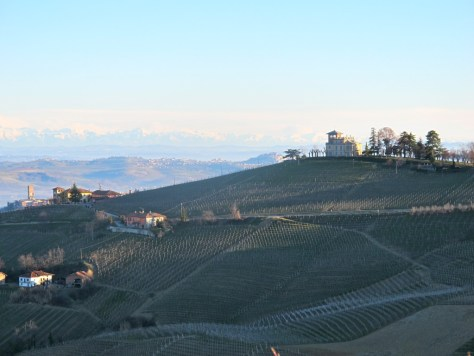 Silhouette in the early spring morning light of the di Gresy family's Langhe home, Villa Giulia atop Monte Aribaldo, the highest point in Barbaresco.