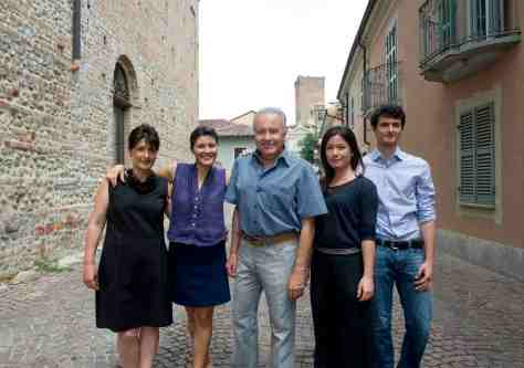 (L-R) Lucia, Gaia, Angelo, Rossana, and Giovanni Gaja on via Torino in Barbaresco. Photo credit: Andrea Wyner