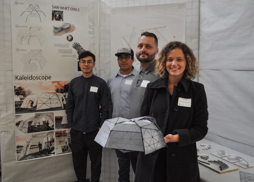 Kaléidoscope Design Team: Erick Vazquez, Architectural Engineering; Charley Picchiottino, Kyle Luk, Architecture; Rhett Turner, Construction Management.