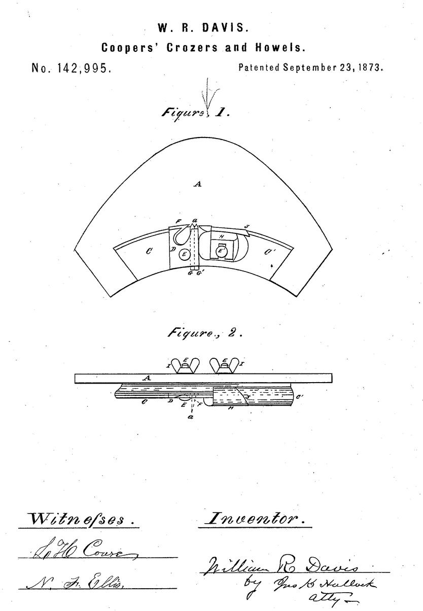 Patent No. 142,995 application filed May 13, 1873.