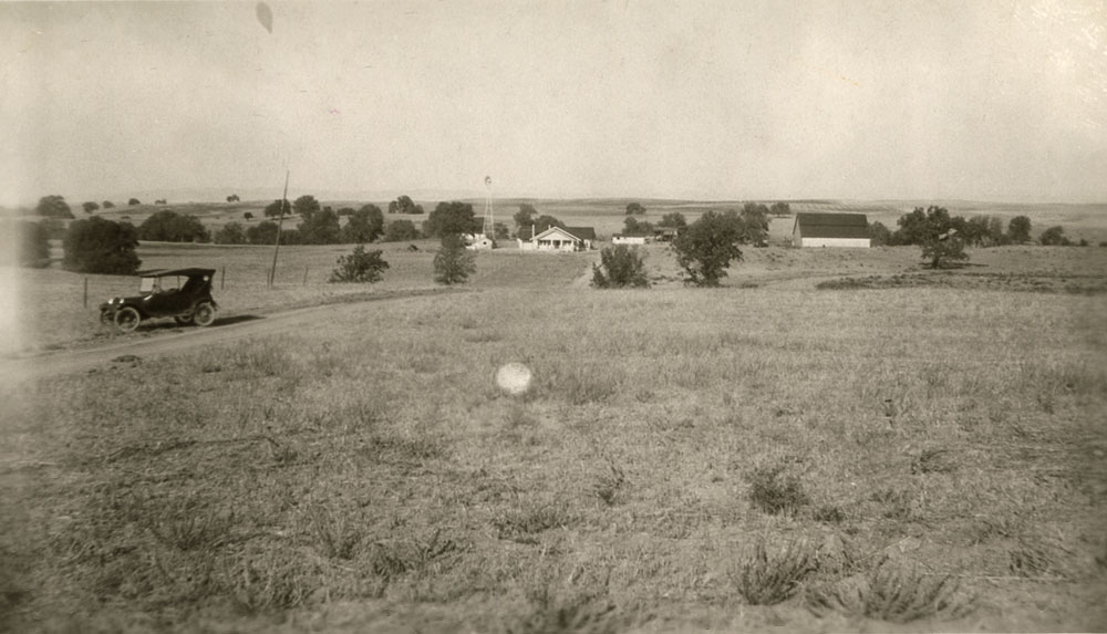 Frank Ernst ranch 1924 or 28. View from Union Road, Cindy's house and barn.